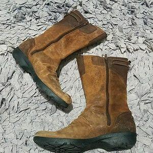 Merrell Vera Mid Mahogany Distressed Zip Boots 7